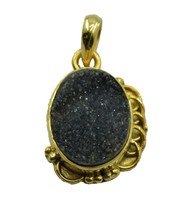 Fashion Gold Plated Druzy Gemstone Pendant Jewelry FMU19JJP40 - $22.77