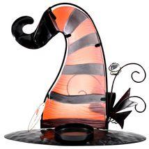 Striped Orange Black Metal & Glass Witch Hat Halloween Tabletop Candle Holder image 3