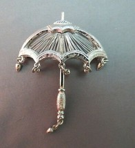 Vintage Monet Umbrella Brooch Rain Drop Dangles Brooch Rare Silver Finis... - $21.77