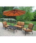 CC Home Furnishings 5-Piece Black and Aluminum Outdoor Patio Chat Set w/... - $4,841.59