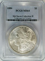 1886 Silver Morgan Dollar PCGS MS 64 McClaren Collection Hoard Pedigree ... - $124.99