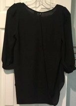 Anthropologie Birdcage Black Open Front & Back Blouse Top Womens S Draped Sheer - $18.69
