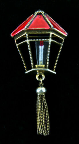 "Primary image for Rare Vintage Weiss Christmas Red Lantern Fringe Lucite Candle Pin  2 7/8""H Book"