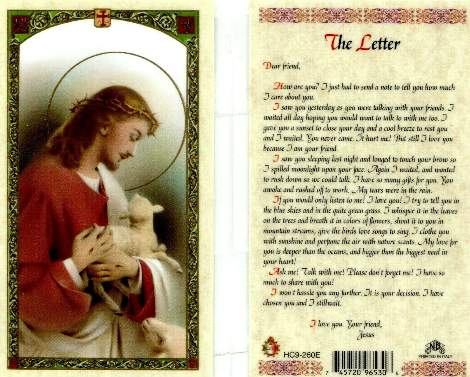 Primary image for A Letter From Jesus Laminated Prayer Card - Item EB116 - Dear Friend How are You