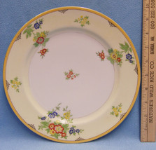 Dinner Plate Fine China Flower Pattern on Yellow White Gold Trim  Made I... - $8.90