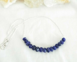 Necklace  with  Sapphire Gemstones Natural Gemstone Sterling Sliver - $21.61