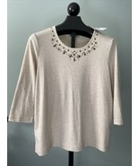 Rebecca Malone Sz XL Women's Top 3/4 Sleeves Stretch Studded Embellished... - $15.88