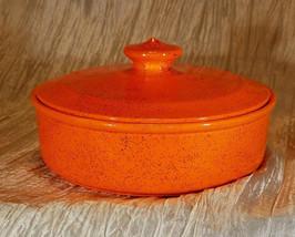 Vintage Arnels Orange and Black Speckled Pottery Candy Bowl with Lid, Si... - $10.00