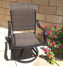 Outdoor bistro set 3 piece patio cast aluminum swivel rocker chairs end table. image 4