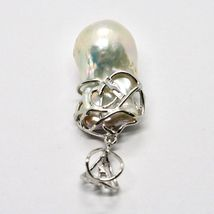 925 Silver Pendant with White Pearl FW Handcrafted Single Model image 8