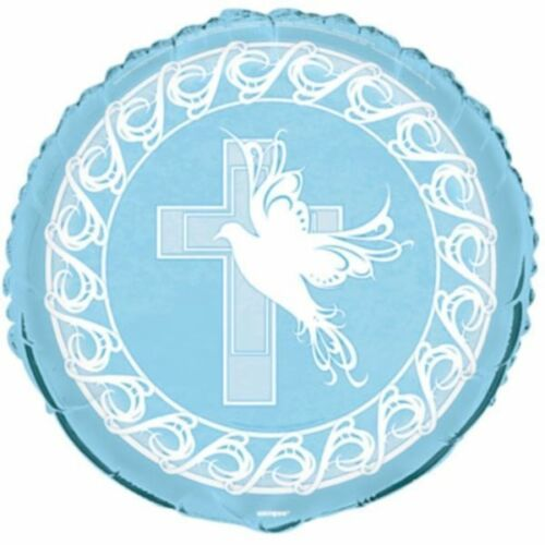 Blue Dove Cross Foil Mylar Round Balloon Party Supply