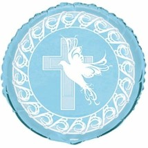 Blue Dove Cross Foil Mylar Round Balloon Party Supply - $2.99