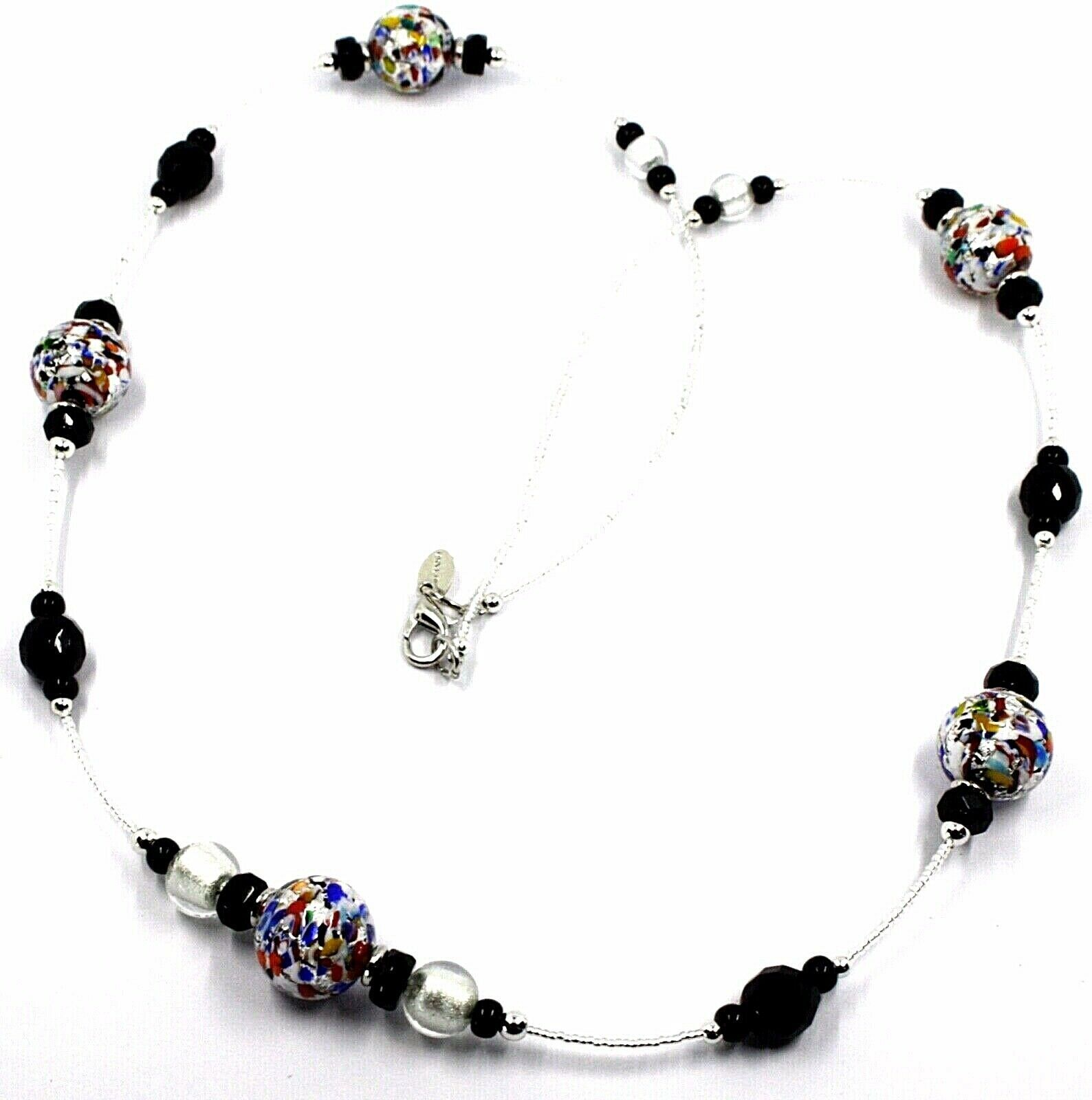 NECKLACE MACULATE LONG MULTI COLOR MURANO GLASS SPHERE, SILVER LEAF, ITALY MADE