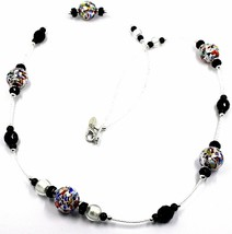 NECKLACE MACULATE LONG MULTI COLOR MURANO GLASS SPHERE, SILVER LEAF, ITALY MADE image 1