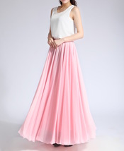 Pink MAXI CHIFFON SKIRT Women High Waisted Chiffon Maxi Skirt Plus Size image 6