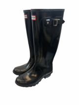 Hunter Original Tall Gloss Rain Boots Black Rubber Waterproof Size 4M/5F - $45.99