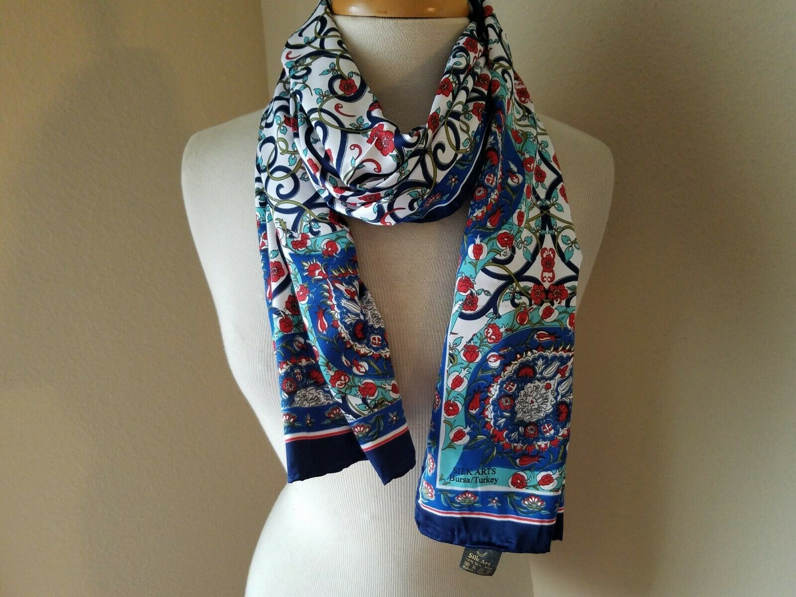 Primary image for Silk Arts Bursa Scarf Turkey 100% Silk Floral Red Blue Wrap Accessory
