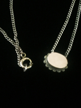 Antique 1900s gold-filled Opal and Seed Pearl oval slide charm necklace image 4