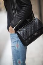 Auth Chanel Black 2.55 Reissue Quilted Age Calfskin 227 Jumbo Double Flap Bag  image 10