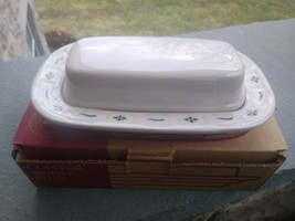 Longaberger Pottery COVERED BUTTER DISH Woven Traditions Green 1/4 lb  - $49.90