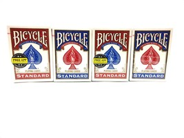 4 DECKS BICYCLE PLAYING CARDS STANDARD POKER GAME AND ENTERTAIN- 2 RED, ... - $11.26