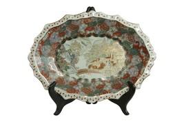 """Beautiful Scallop Rim Chinese Satsuma Style Porcelain Oval Plate 14""""x10.5"""" - $128.69"""