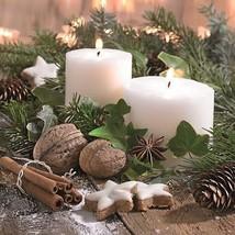 Kerzen Blätter Weihnachten weiß grün braun 33cm x 33cm 20 x 3-lagige - $8.14