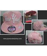 NEW YORK Pink & White Striped Hat NWT XL Adjustable City Hunter - $9.99