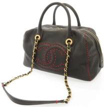 CHANEL Handbag Lambskin Black Coco CC Logo Chain Shoulder Bag Italy Authentic