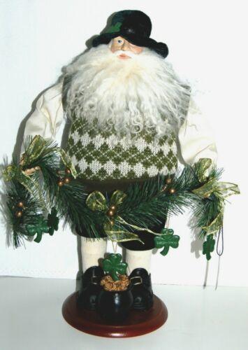 American Silkflower SO1683 Irish Santa Holding Garland with Shamrocks