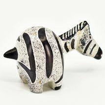 Crafts Caravan Hand Carved Soapstone Grey & Black Chubby Zebra Figurine Kenya image 4