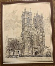 Vintage Original ~ Pen and ink drawing sketch of Westminster Abbey ~ Hea... - $828.49
