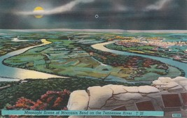 Moonlight Moccasin Bend on the Tennessee River Postcard Linen Colourpicture - $3.34
