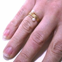 Yellow Gold Ring Or White Or Pink 18K, Multi Wires Elastic with Pearls, image 9