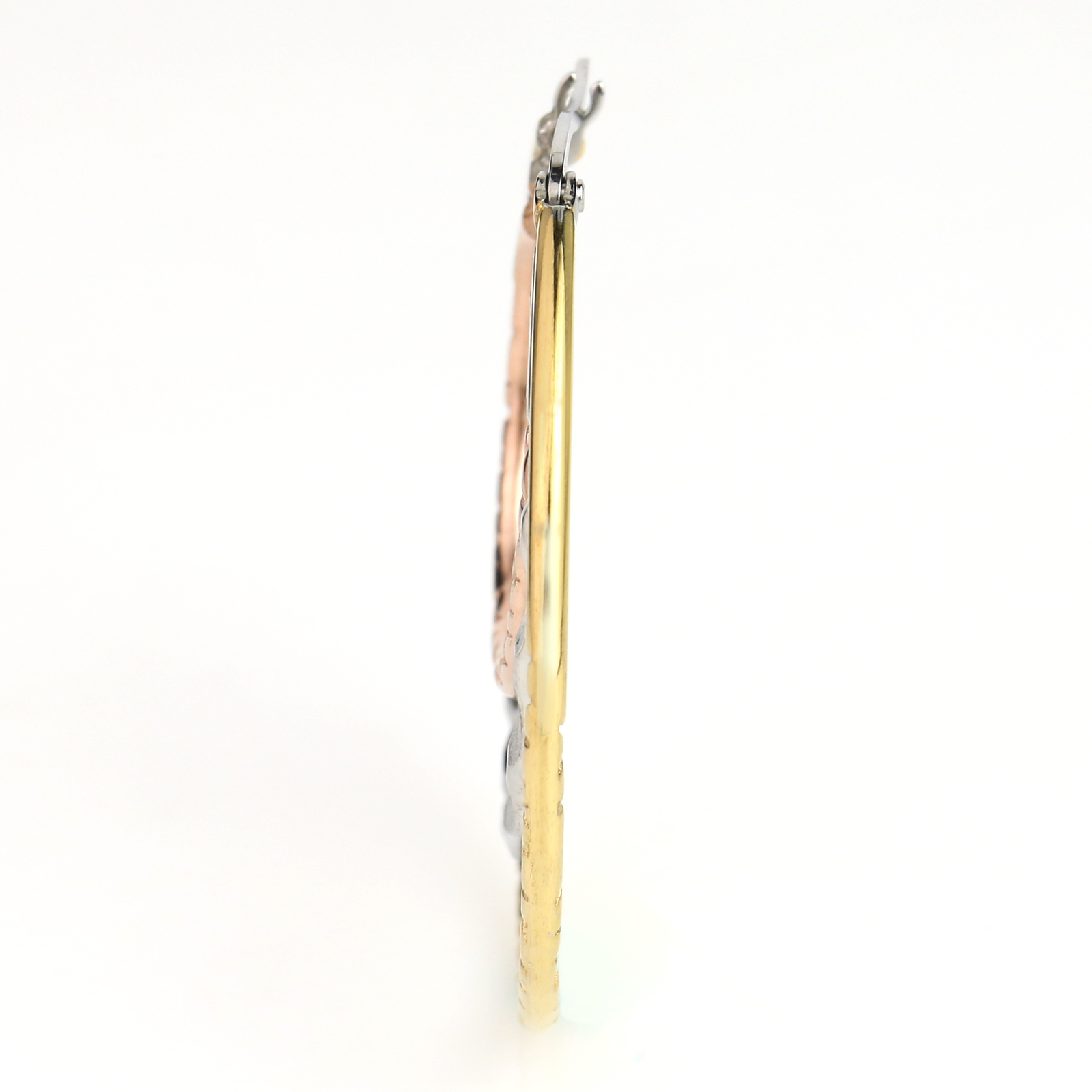 Multi Textured Tri-Color Silver, Gold & Rose Tone Hoop Earrings- United Elegance image 2