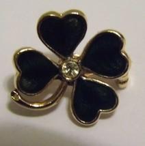 VTG Gold Tone Brooch Pin Four Leaf Clover Enamel Gem Costume Fashion Jew... - $8.66