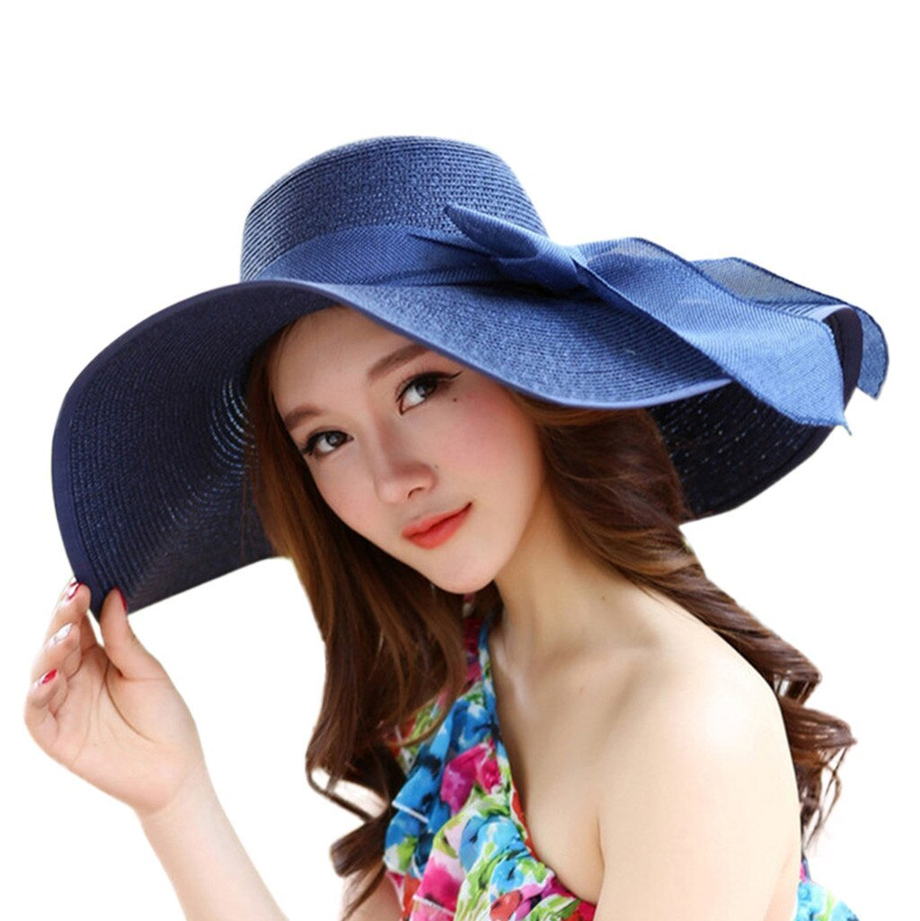 CHAMSGEND Women Big Brim Straw Hat Sun Floppy Wide Brim Hats New Bowknot Folding image 6