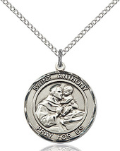 Saint Anthony of Padua 3/4 x 5/8 Sterling Silver Round Medal - $74.99