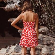 Red And White Floral Casual Summer Beach Sundress image 4