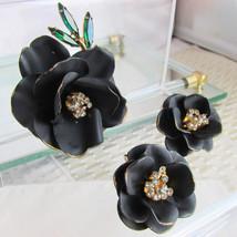 Vintage Matte Black Enamel Rose Pin Brooch Earring Set Rhinestone Leaves... - $22.49