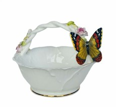 Maruri porcelain basket Enesco figurine butterfly butterflies bowl trink... - $39.55
