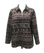 Chicos 3 Full Zip CardiganJacket Womans XL Brown Black Boho Unlined Stre... - $24.14