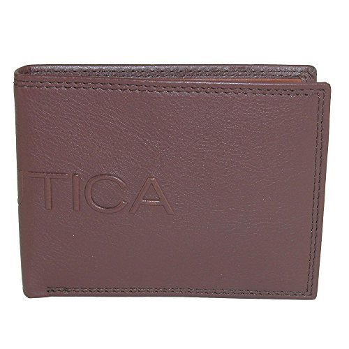 Nautica Men's Leather Bifold Wallet with Coin Pocket, Cognac
