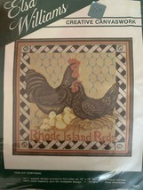 ELSA WILLIAMS RHODE ISLAND REDS Rooster Hen Chicken Needlepoint 14.5 Squ... - £29.81 GBP