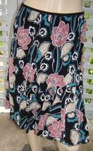 ANN TAYLOR LOFT Black Multi-Color Floral Pintucked Knee Length Full Skirt (6) - $9.70