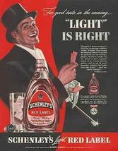 Gent Top Hat Tickets Schenley Light RED Label 1939 AD - $14.99