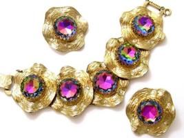 Heliotrope Watermelon Huge Rhinestone Vintage Judy Lee Bracelet Earring ... - $321.70