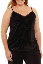 Worthington Woman Plus Burnout Velour Knit Camisole Tank Top Black Size ... - $11.99