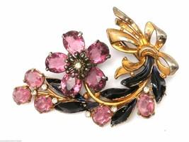 Vintage Brooch 1940s Paste  Large Pink Stones Enamel - $37.10