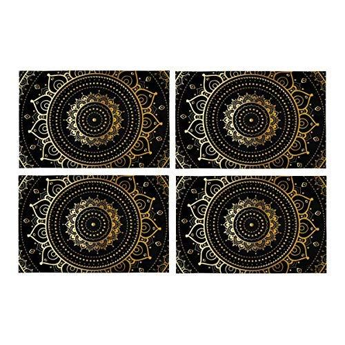InterestPrint Ethnic Vintage Gold Mandala Fabric Placemats Set of 4 Stain Resist